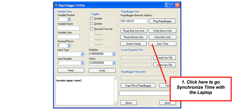 Using the Rapidlogger Utility