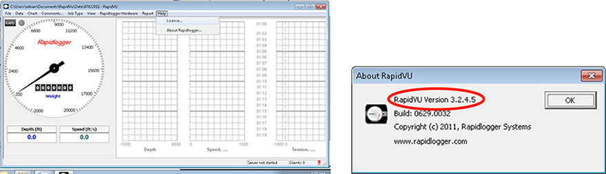 Figure 1: Checking RapidVu Dialog Box and Version