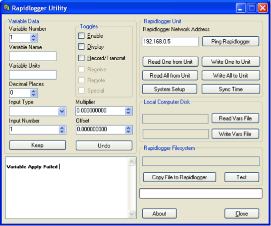 Rapidlogger Initial Screen